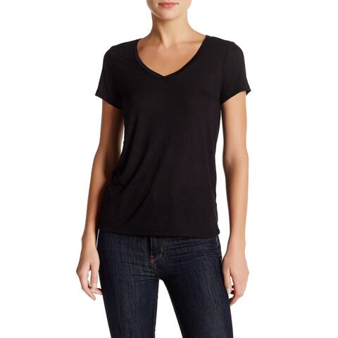 db4ad796 Abound Black Womens Size Small S Short Sleeve V-Neck Tee Shirt Top 296