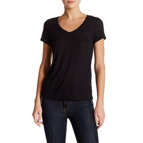 a5c92256c3 Abound Black Womens Size Small S Short Sleeve V-Neck Tee Shirt Top 296