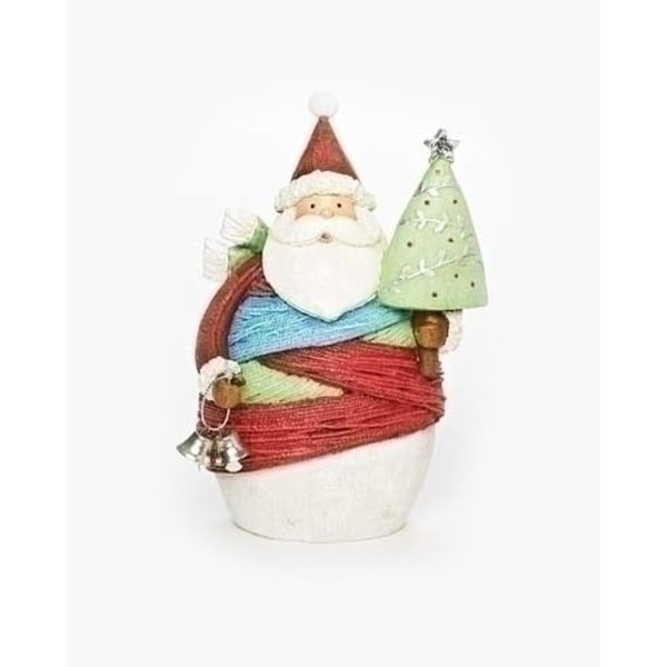 "6.5"" Vibrant Colorful striped Yarn Wrapped Santa Claus with Tree Christmas Figure - multi"