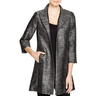 Eileen Fisher Womens Trench Coat Jacquard Textured - M