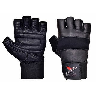 "Weight Lifting Gloves With 12"" Wrist Support For Fitness Gym Workout Training - Black"