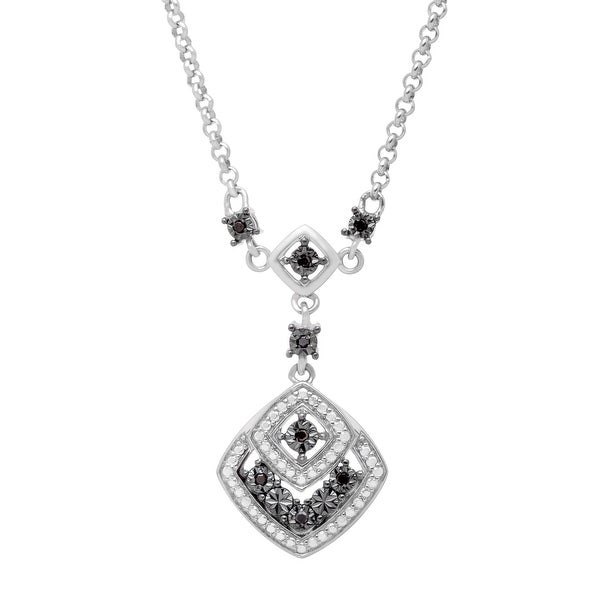 Necklace with Black Diamonds in Sterling Silver