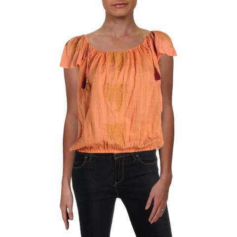 Free People Womens Pukka Peasant Top Short Sleeves Embroidered