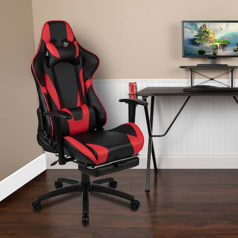 Racing Gaming Ergonomic Chair with Reclining Back, Footrest in Red LeatherSoft