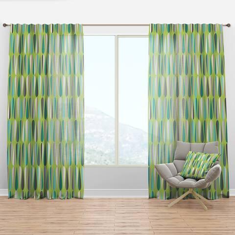Designart 'Retro Abstract Drops VI' Mid-Century Modern Curtain Panel