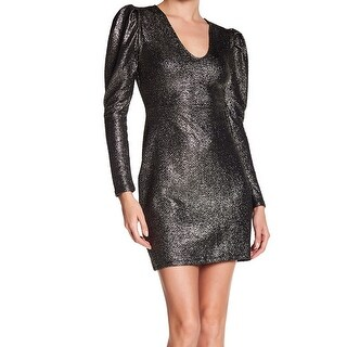 Free Press Womens Small Metallic V-Neck Sheath Dress