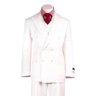 EST Off-White Wide Leg Pure Wool Suit & Vest by Tiglio Rosso