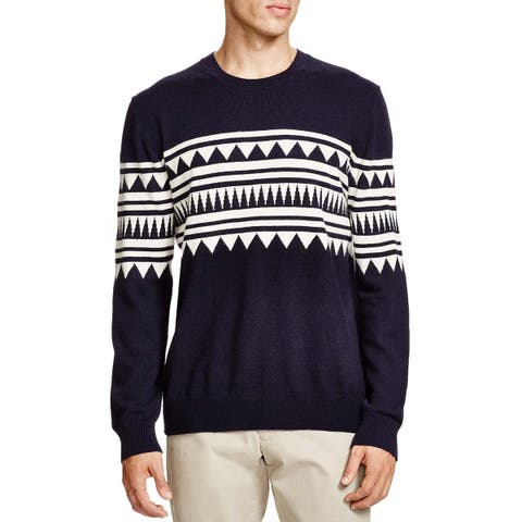 Bloomingdales Mens 2-Ply Cashmere Jacquard Pattern Crewneck Sweater Medium Navy