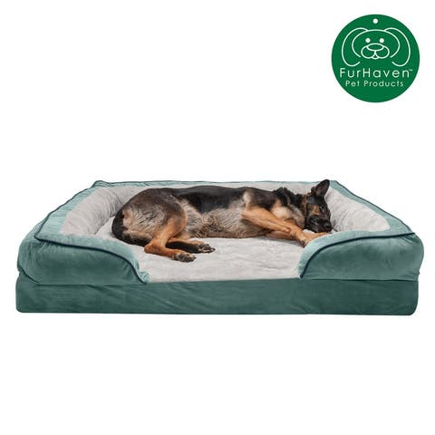 FurHaven Velvet Waves Perfect Comfort Memory Foam Sofa Dog Bed