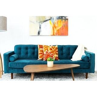 "Link to Mid Century Modern Kade Teal Velvet Sofa - 33"" x 84.5"" x 34"" Similar Items in Sofas & Couches"