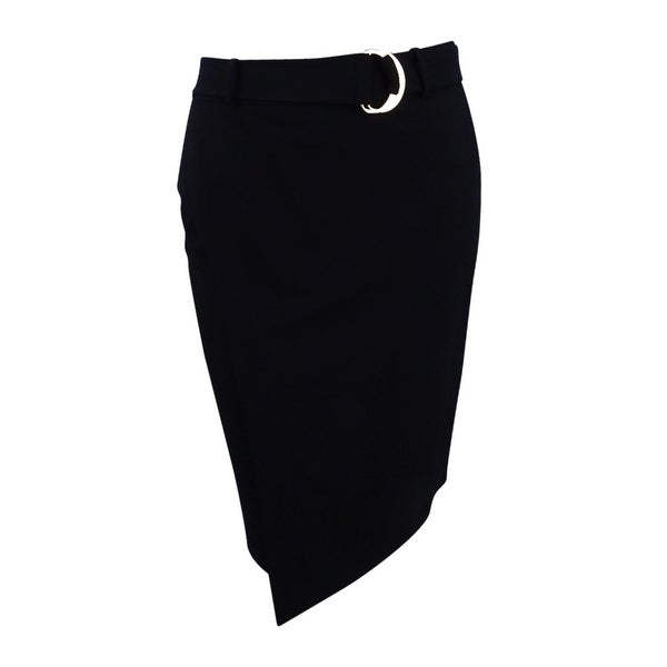 d836d8720f Shop Calvin Klein Women's Petite Lux Belted Faux-Wrap Pencil Skirt (4P,  Black) - Black - 4P - Free Shipping Today - Overstock - 25613904