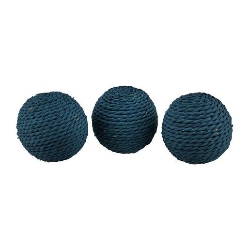 3 Piece Set of Rustic Rattan Twine Rope Design Decorative Balls 3.75 Inch