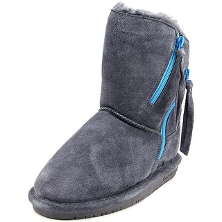 Bearpaw Mimi Youth Round Toe Leather Gray Winter Boot