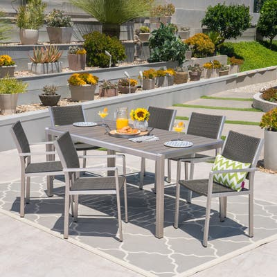 Cape Coral Outdoor 7-pc. Rect. Aluminum Dining Set by Christopher Knight Home