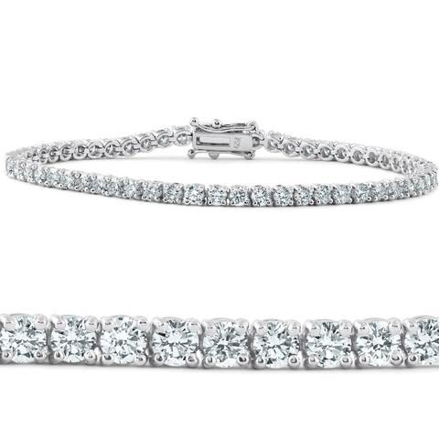 "G/VS 5 Ct Diamond Tennis Bracelet 18k White Gold 7"" Lab Grown Eco Friendly"