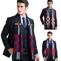 Men Classic Plaid Pattern Cotton Warm Soft Windproof Long Business Winter Scarf
