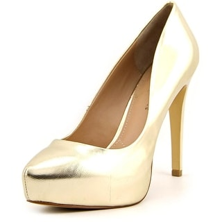 Charles By Charles David Frankie Women Open Toe Synthetic Gold Platform Heel