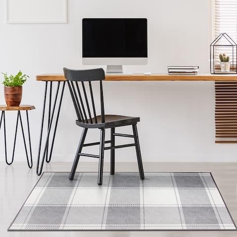 My Magic Carpet Machine Washable Area Rug Buffalo Plaid Grey And White