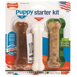 "Nylabone Puppy Chew Toy Starter Kit Brown / White 4.5"" x 1.5"" x 1.5"""