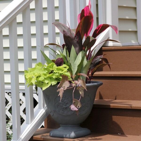Sunnydaze Darcy Outdoor Flower Pot Planter - Slate Finish - 16-Inch - 4-Pack