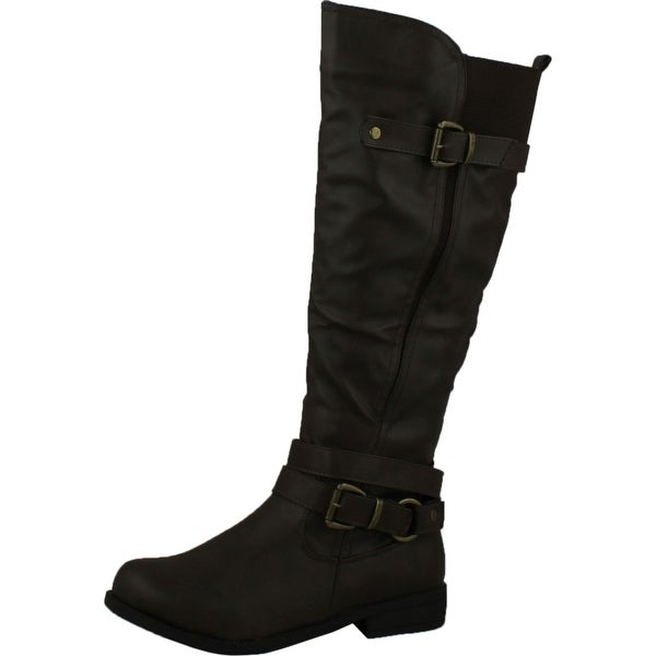 Fashion Focus Michael-7 Womens Elastic Insert At The Top Buckled Riding Boots