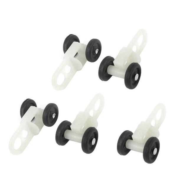Unique Bargains 5 Pcs Home Plastic Curtain Track Rail Rollers 13.5mm  Diameter Wheel