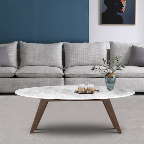 Poly and Bark Riley Marble Oval Coffee Table