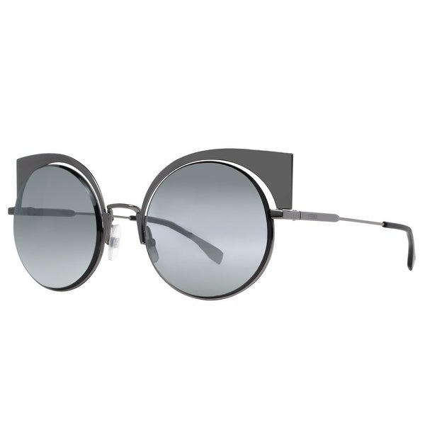 7f9572b4e485 Shop Fendi FF 0177 S KJ1 T4 Dark Ruthenium Mirrored Women s Round ...