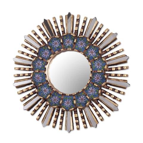 NOVICA Handmade Cuzco Blue Wood And Reverse Painted Glass Wall Mirror (Peru) - 3.9