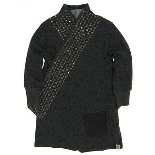 Mini Shatsu Girls Grey Rock and Roll Studded Splatter Trench Coat
