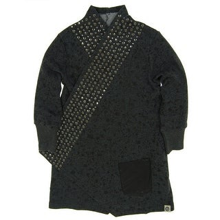 Mini Shatsu Girls Grey Rock and Roll Studded Splatter Trench Coat