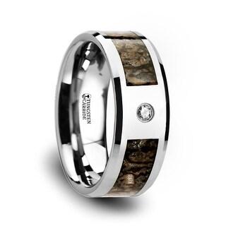 Thorsten Brown Dinosaur Bone Inlaid Tungsten Carbide Diamond Wedding Band with Beveled Edges - 8mm