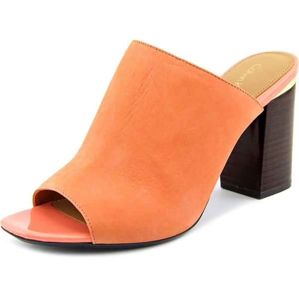 Calvin Klein Cice Women Open Toe Leather Slides Sandal