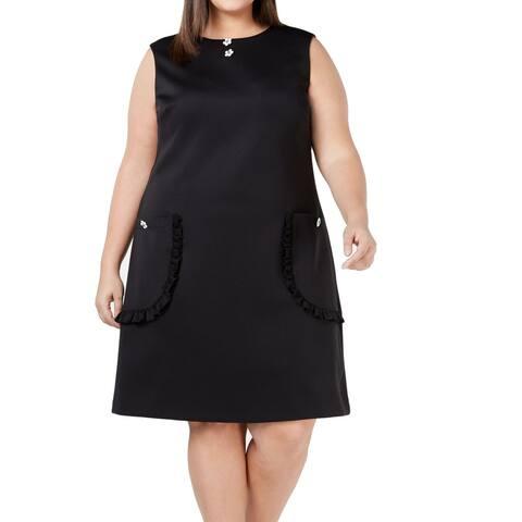Betsey Johnson Women's Dress Deep Black Size 20W Plus Shift Embellish