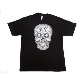 Mens Black/White Sugar Skull Short-Sleeve T-Shirt