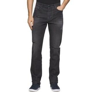 Calvin Klein NEW Gray Men Size 31X32 Distressed Slim Straight Leg Jeans