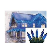 Set of 100 Blue Mini Icicle Christmas Lights - Green Wire