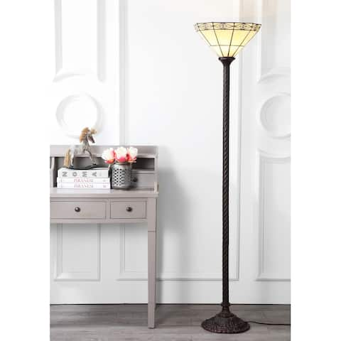 """Moore Tiffany-Style 68.57"""" Torchiere LED Floor Lamp, Bronze by JONATHAN Y - 68.57"""" H x 15"""" W x 15"""" D"""