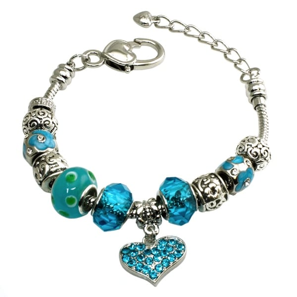 Multi-color Aquamarine CZ Gems Beaded Charms Metal Alloy Bracelet - 7 inches