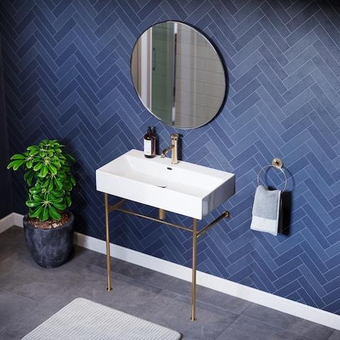 Claire Ceramic Console Sink White Basin Gold Legs