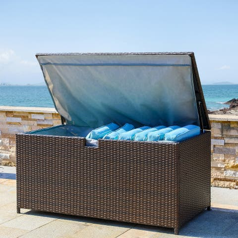 4.4ft Outdoor Patio Modern Oversized Wicker Table Storage Box by Glitzhome