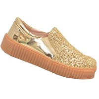 Adult Gold Glitter Glossy Laceless Slip-On Fashion Sneakers