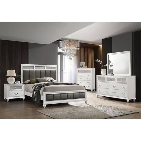 Silver Orchid Lindberg White Upholstered Bedroom Set