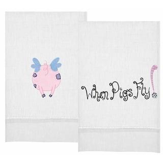 When Pigs Fly Linen Tea Towel Set of 2
