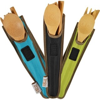ChicoBag Reusable Bamboo ToGoWare Utensil Set with RPET Carrying Case (Option: Avocado)