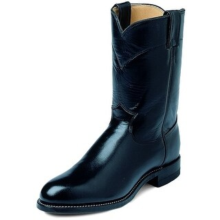 Justin Western Boots Mens Leather Cowboy Roper Kipskin Black 3133