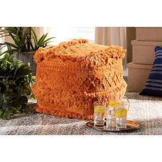 Jaxon Moroccan Inspired Orange Handwoven Cotton Pouf Ottoman