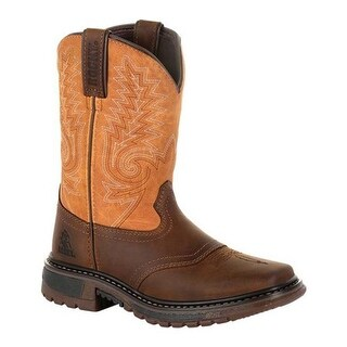 "Rocky Children's 8"" Ride FLX Western Boot RKW0256C Brown/Orange Full Grain Leather/Synthetic"