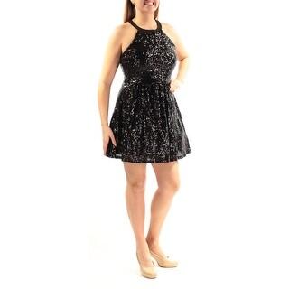 Womens Black Sleeveless Mini Fit + Flare Cocktail Dress Size: 13