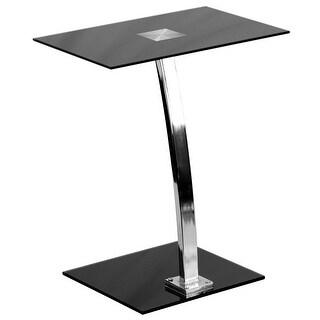 Millston Laptop Home/Office Computer Desk w/Silk Black Tempered Glass Top